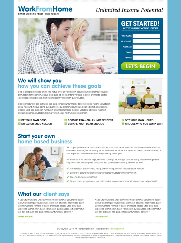 Do work from home and earn money online as a internet marketers landing page design example from http://www.semanticlp.com/category/work-from-home/