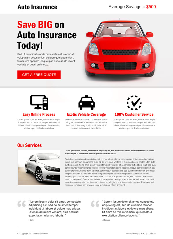 Effective and best auto insurance landing page design example for inspiration from http://www.semanticlp.com/category/auto-insurance/