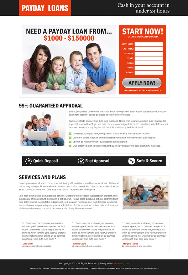 Converting payday loan landing page design