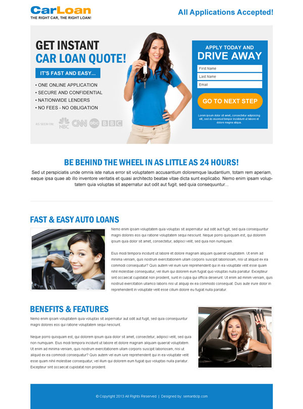 car loan landing page design templates example to capture leads for
