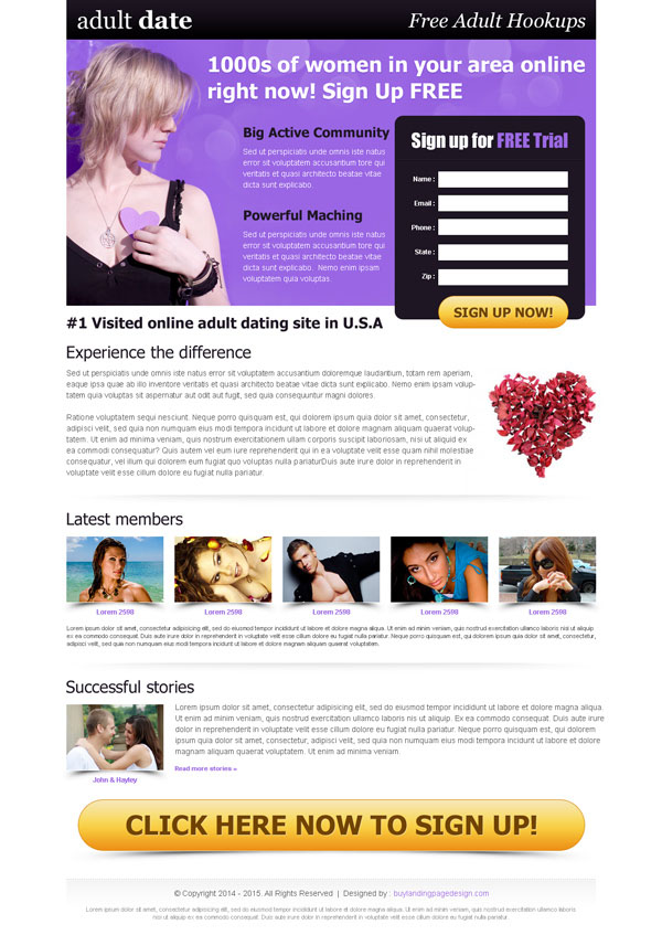 adult dating lead capture landing page design templates example from https://www.buylandingpagedesign.com/buy/beautiful-effective-and-converting-dating-landing-page-template/200