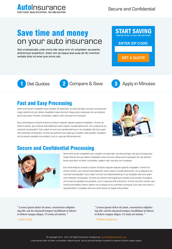 Clean, flat and creative auto insurance responsive landing page design templates from https://www.buylandingpagedesign.com/buy/auto-insurance-quote-by-zip-code-responsive-landing-page-design/9