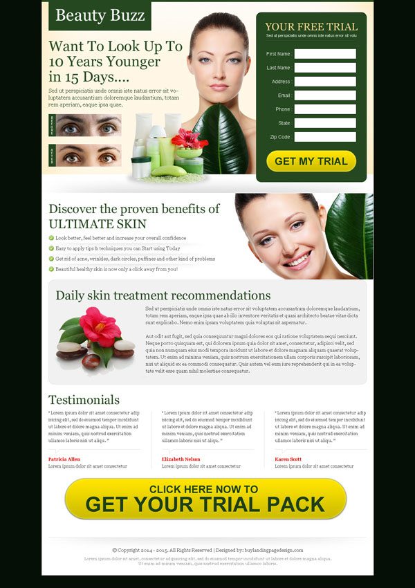 beauty product lead capture landing page design templates to capture quality leads for your online beauty product selling business conversion from https://www.buylandingpagedesign.com/buy/look-upto-10-years-younger-in-15-days-very-attractive-and-converting-landing-page-design/421