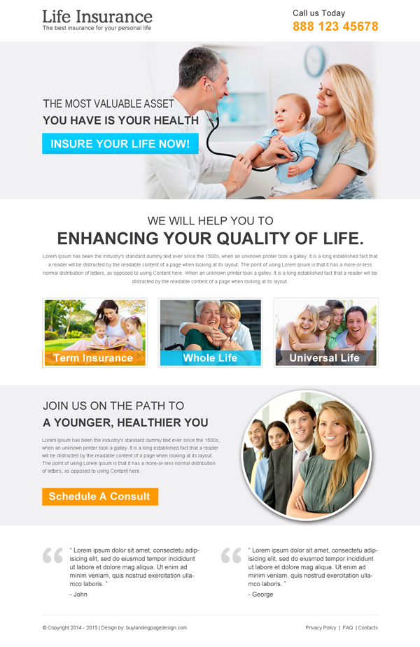 clean life insurance responsive landing page design
