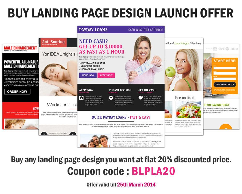 Buy any landing page design you want at flat 20% discounted price.