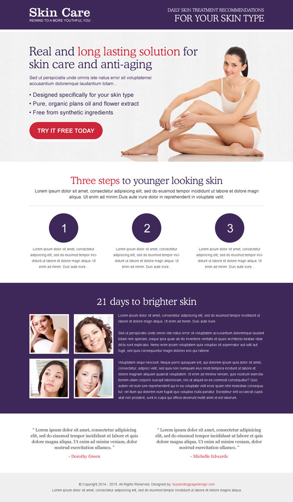 skin care treatment squeeze page design