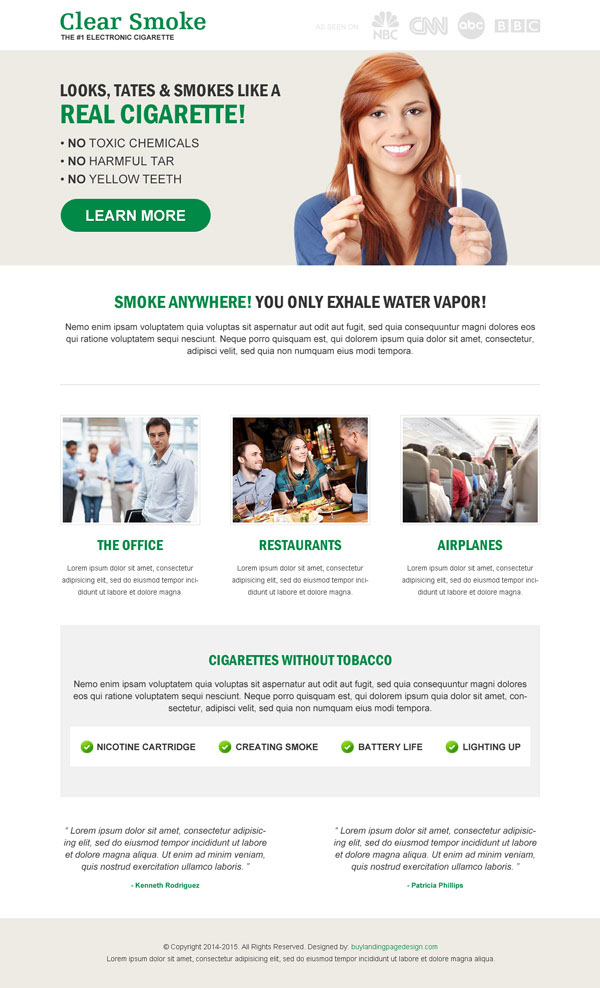 e-cigarette responsive landing page design templates examples to increase conversion and sales of your e-cigarette online from https://www.buylandingpagedesign.com/buy/e-cigarette-responsive-landing-page-design/86
