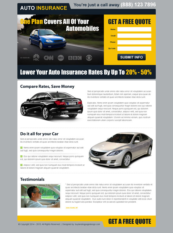 free auto insurance attractive lead capture landing page design templates to boost your auto insurance business sales from https://www.buylandingpagedesign.com/buy/one-plan-for-all-your-automobiles-free-quote-clean-and-converting-landing-page/418