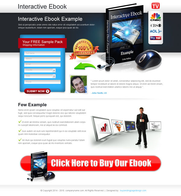 eBook landing page design to increase your leads and sales from https://www.buylandingpagedesign.com/buy/interactive-ebook-converting-lead-capture-lander-design/214