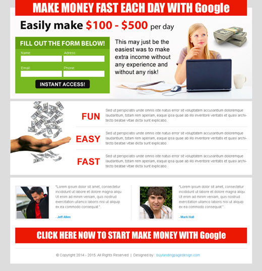 make money online clean and optimized lead capture landing page design templates to earn money online with Google from https://www.buylandingpagedesign.com/buy/make-money-fast-everyday-with-google-lander-design/236