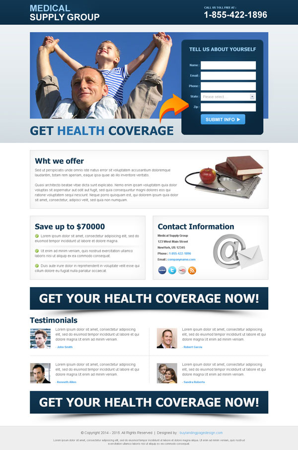 high converting medical lead capture squeeze page design templates to boost your medical business service conversion from https://www.buylandingpagedesign.com/buy/health-coverage-lead-capture-clean-landing-page/289