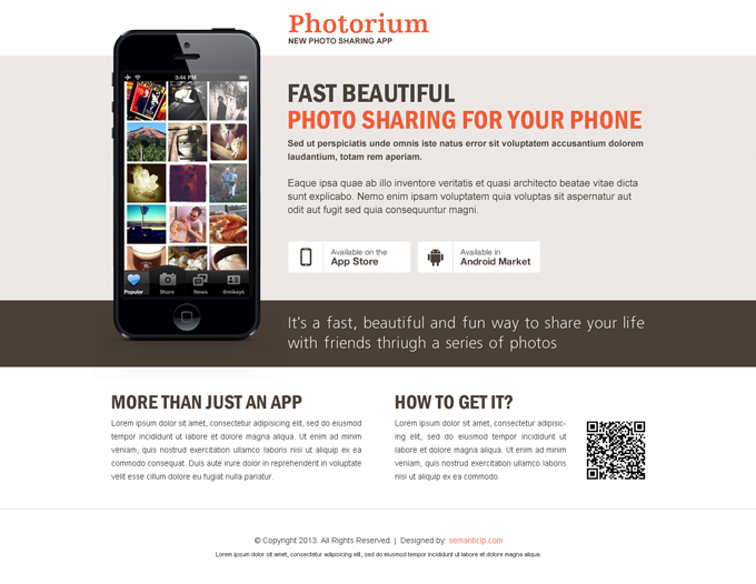 application landing page design to maximize your conversion for your photo gallery selling from https://www.buylandingpagedesign.com/buy/fast-beautiful-photo-sharing-from-your-phone-application-landing-page-design/399