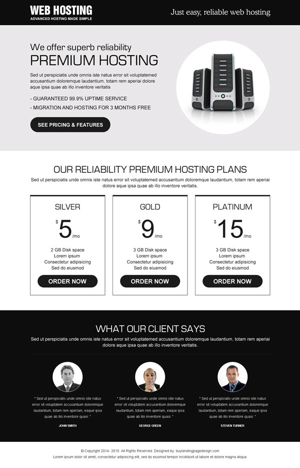 web hosting business responsive landing page design templates to boost your hosting business sales, traffic and conversion from https://www.buylandingpagedesign.com/buy/responsive-reliable-web-hosting-lander-design/94