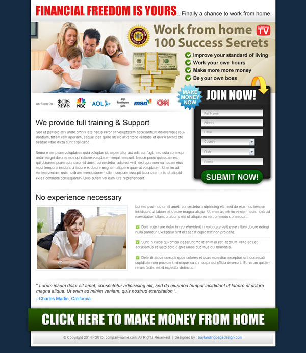 work from home converting lead capturing squeeze page design templates examples to earn money by doing work from home templates from https://www.buylandingpagedesign.com/buy/work-from-home-success-secrets/68