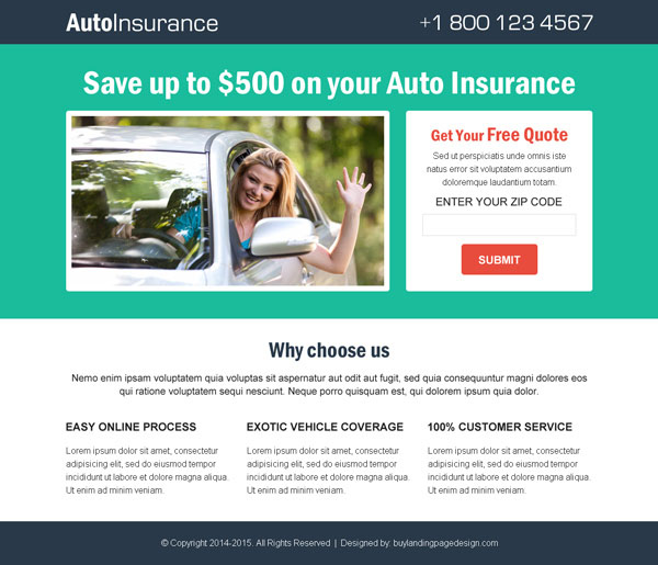 auto insurance lead capture responsive landing page design