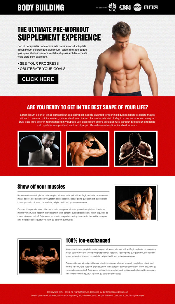 bodybuilding clean and effective call to action responsive landing page design