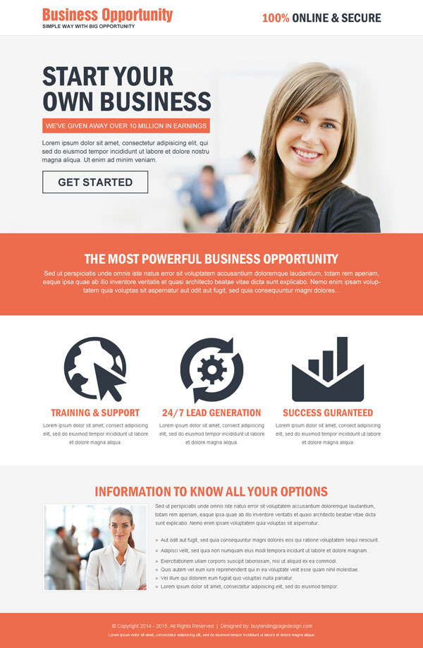 business opportunity cta responsive landing page design template