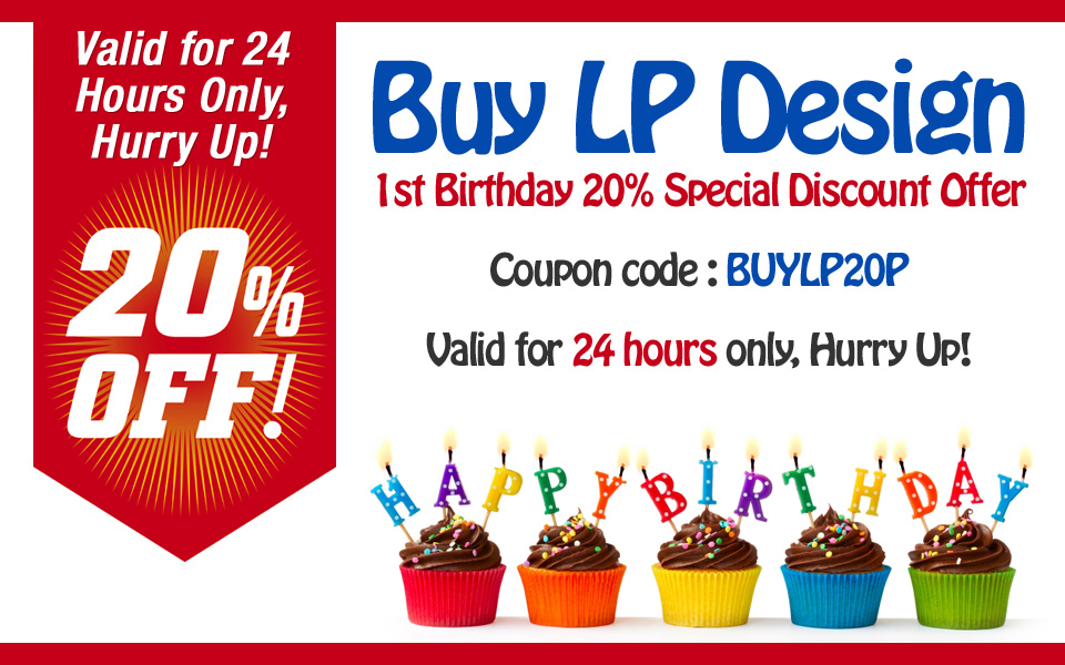 buy landing page design first birth day special discount offer