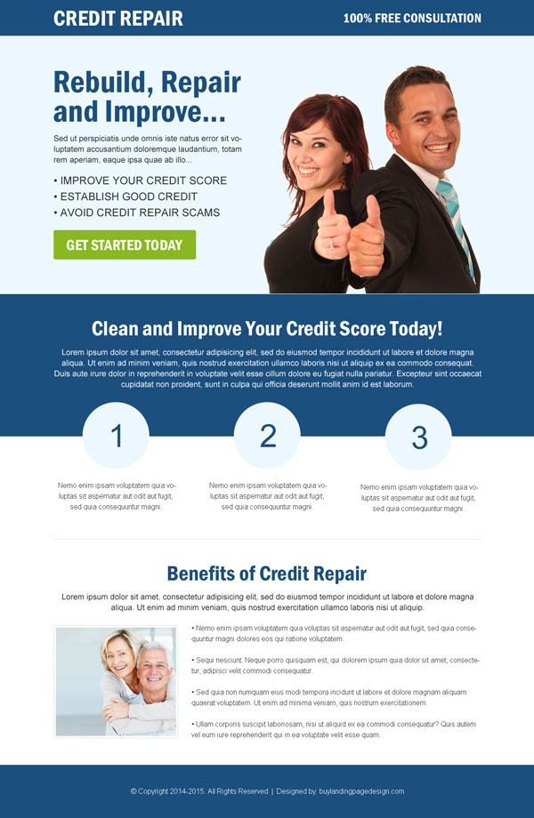 clean and converting credit repair responsive landing page design