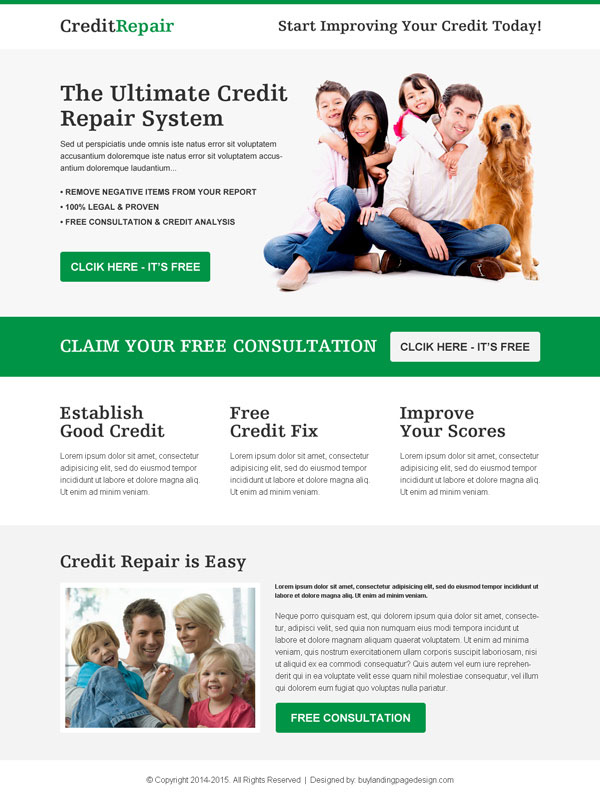 credit repair free consultation responsive landing page design template