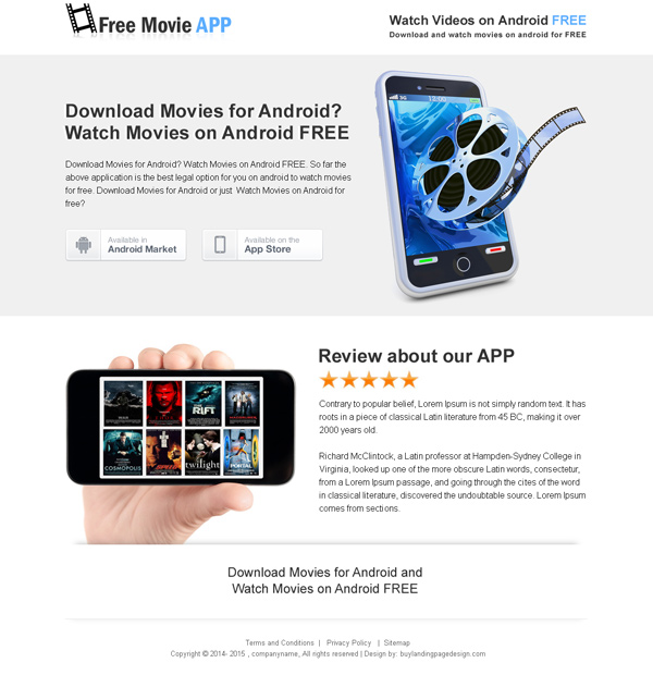 free movie download clean and responsive app landing page design