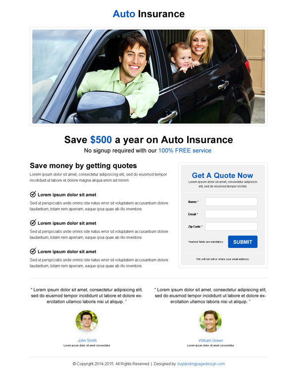 minimal looking responsive landing page design for auto insurance