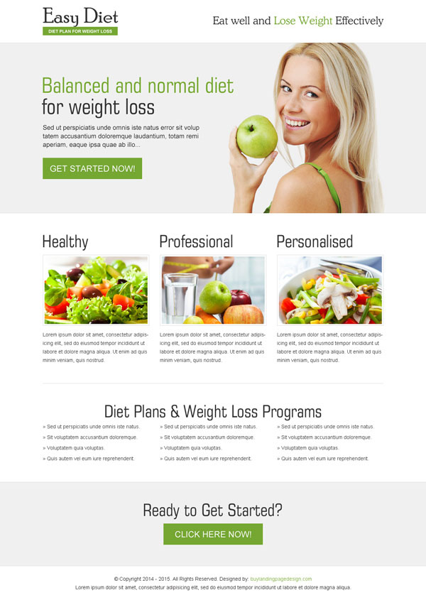 weight loss diet responsive landing page design to boost your conversion rate