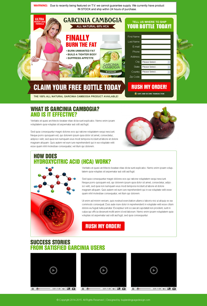 Garcinia cambogia weight loss landing page design templates ...