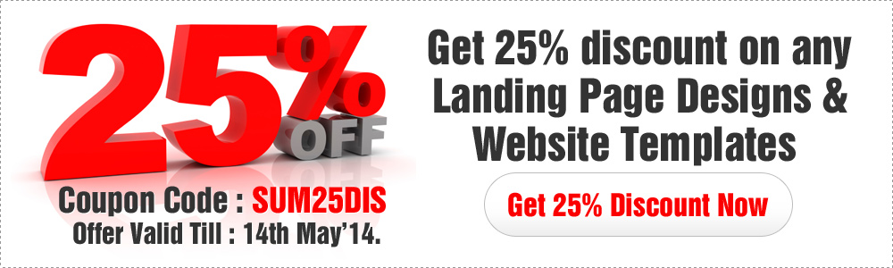 Landing page design special summer flat 25% discount offer on landing page design, responsive landing page design, website templates, ppv landing page design and html website templates.