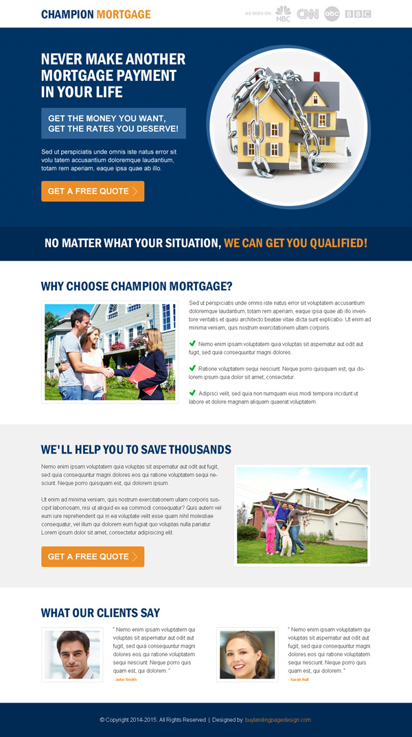 get the best rates you deserve for your mortgage call to action splash page design