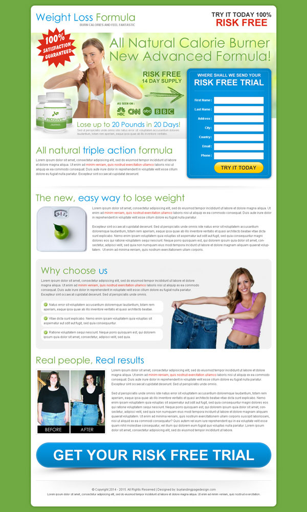 Best weight loss landing page design to maximize your for Free lead capture page templates
