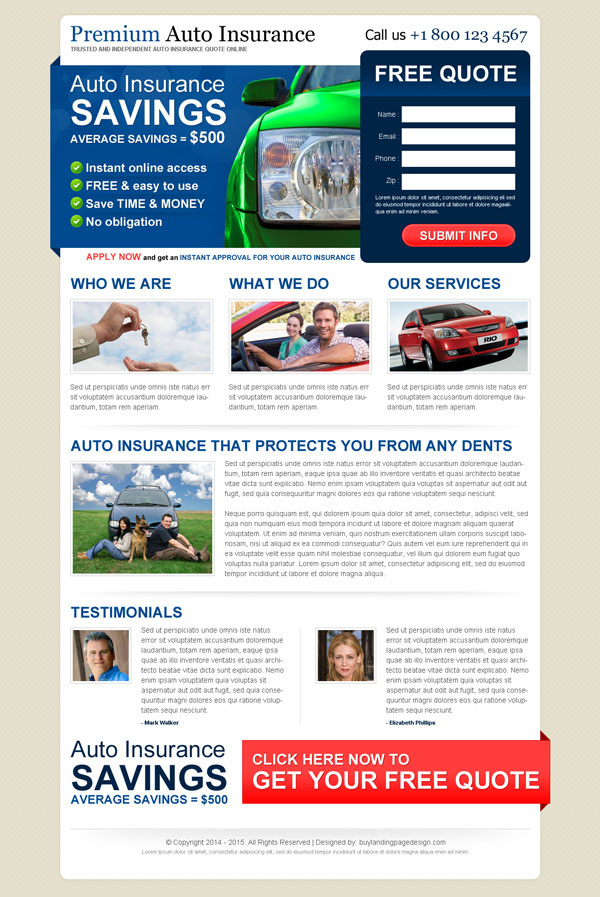 auto insurance landing page designs to improve your conversion. Black Bedroom Furniture Sets. Home Design Ideas