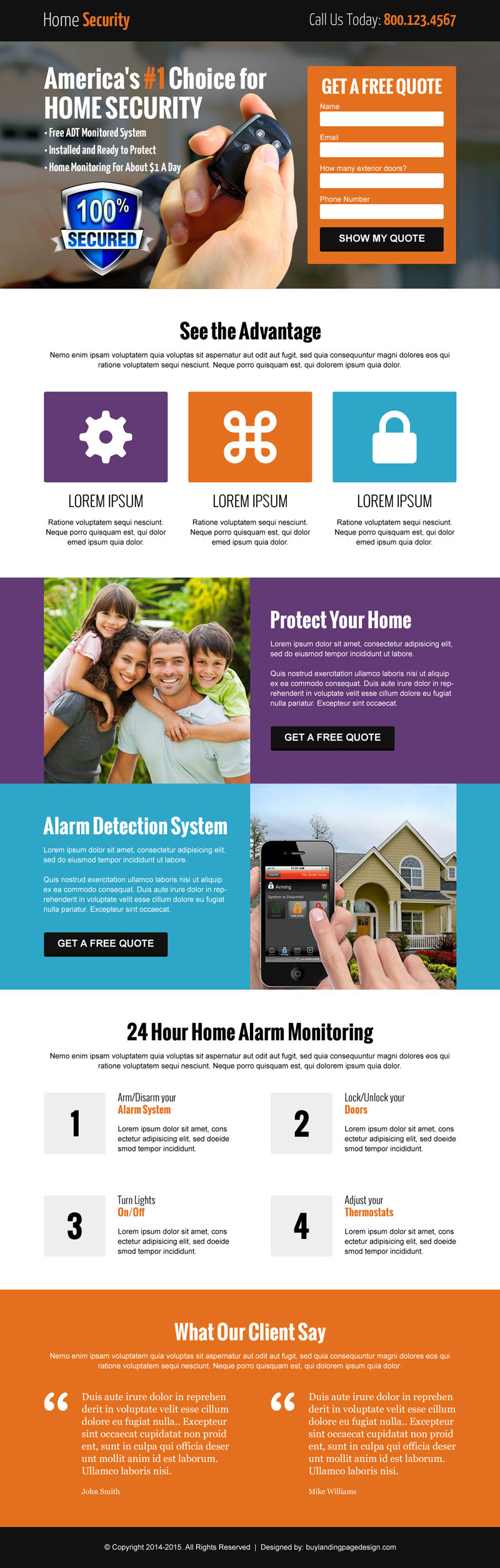 free quote service lead capture landing page design template 002