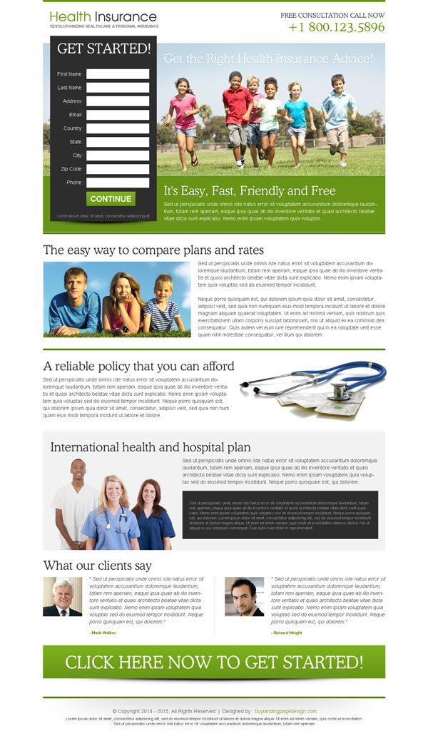 Converting insurance lead generation landing page design for Free lead capture page templates