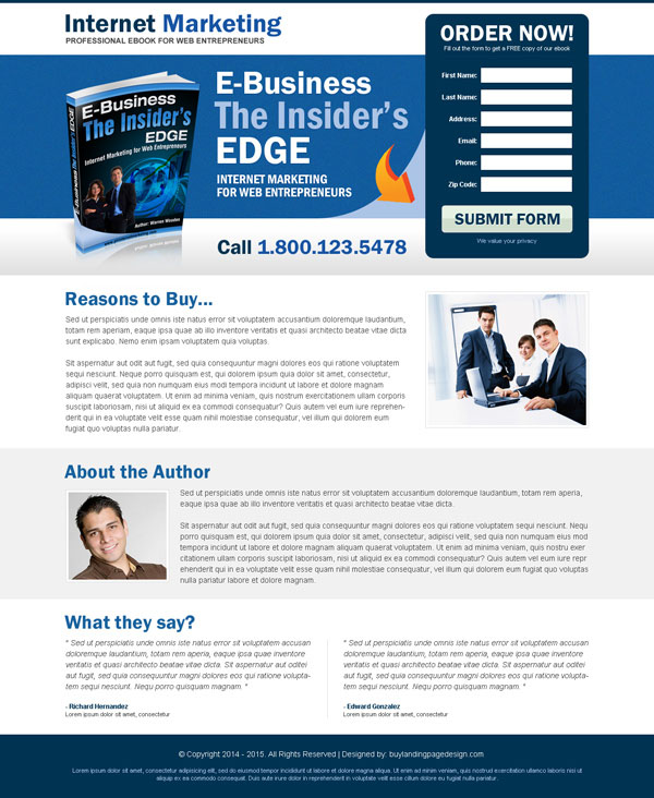 Landing page design that convert your business into next level 2015 best internet marketing e book landing page design pronofoot35fo Images