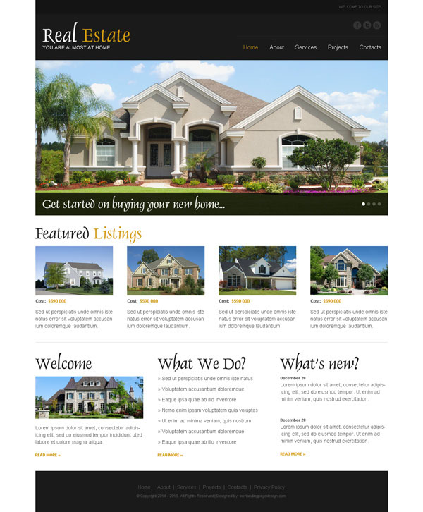 Real Estate Business Website Template Psd