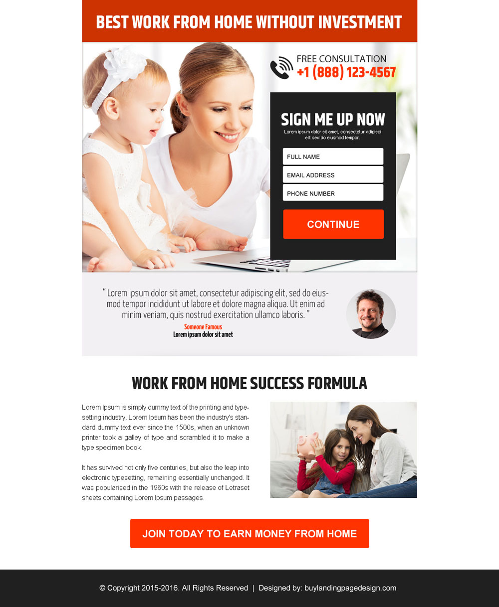 Work From Home Web Design Crowdbuild For 30 Work From Home Without  Investment Sign Up Lead