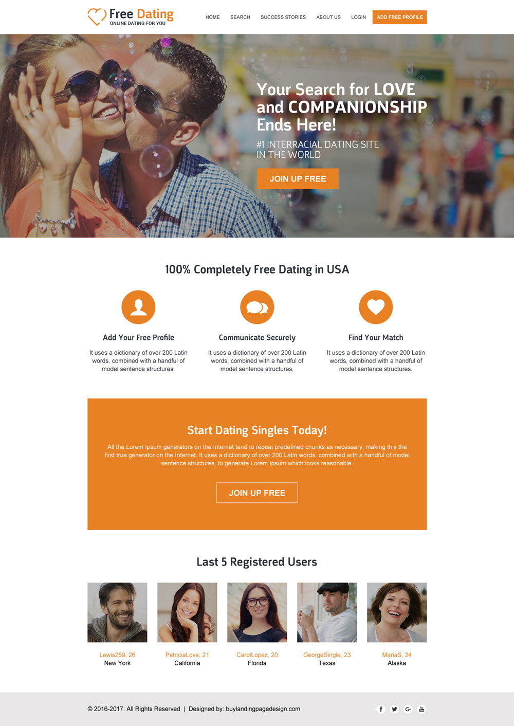 free dating website design