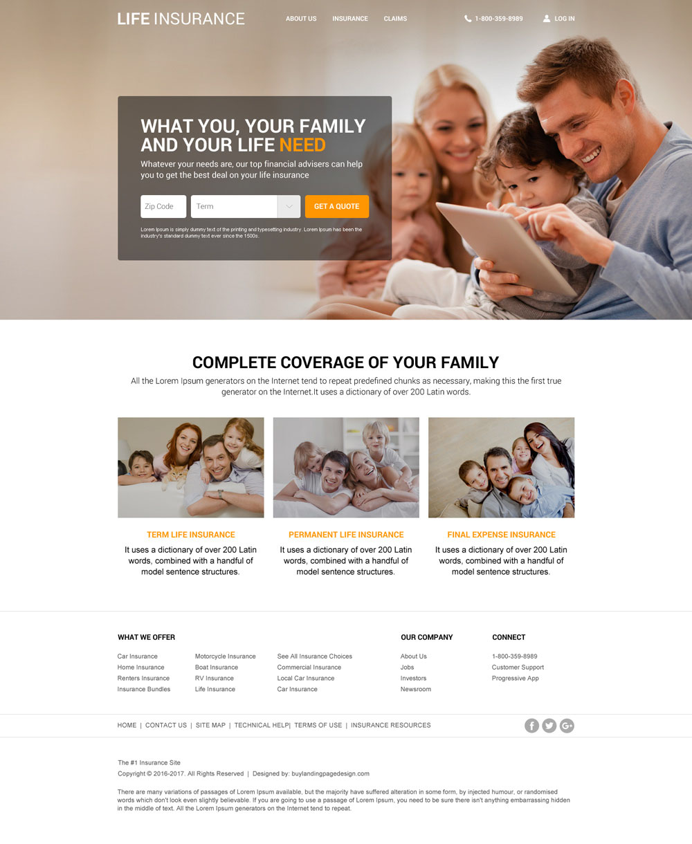 life insurance agency responsive website template to create beautiful