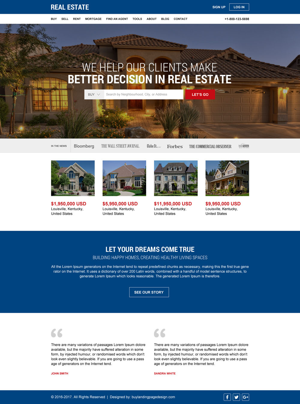 Responsive landing page design for your marketing leads for Best house buying websites