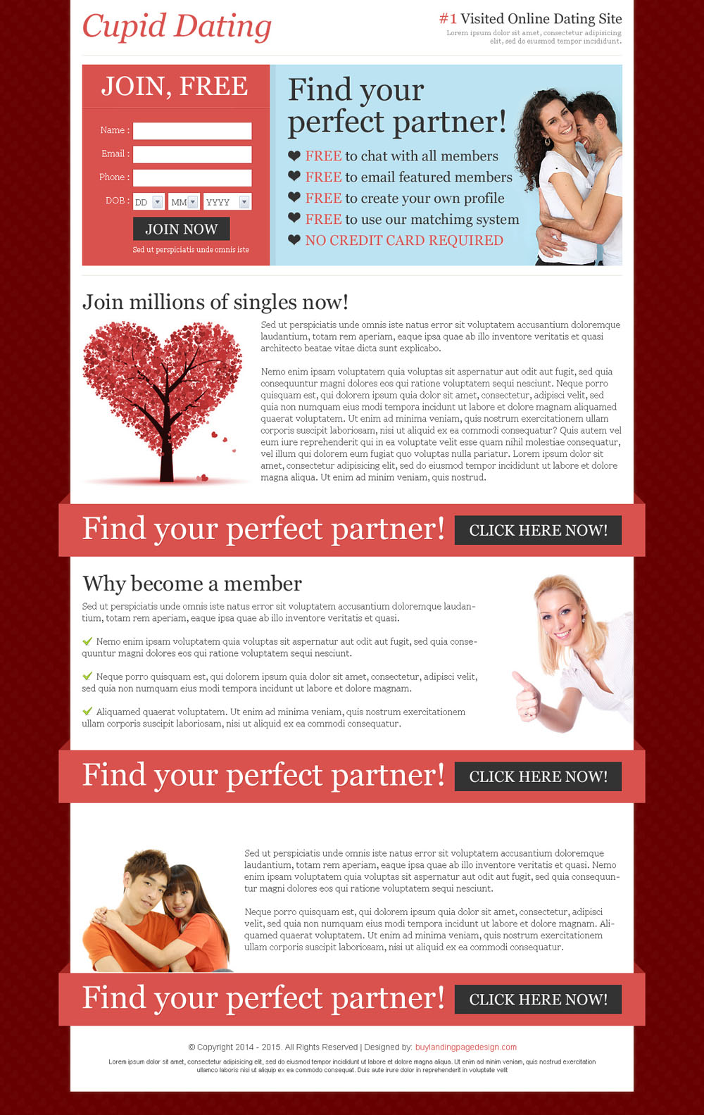 Dating landing page templates