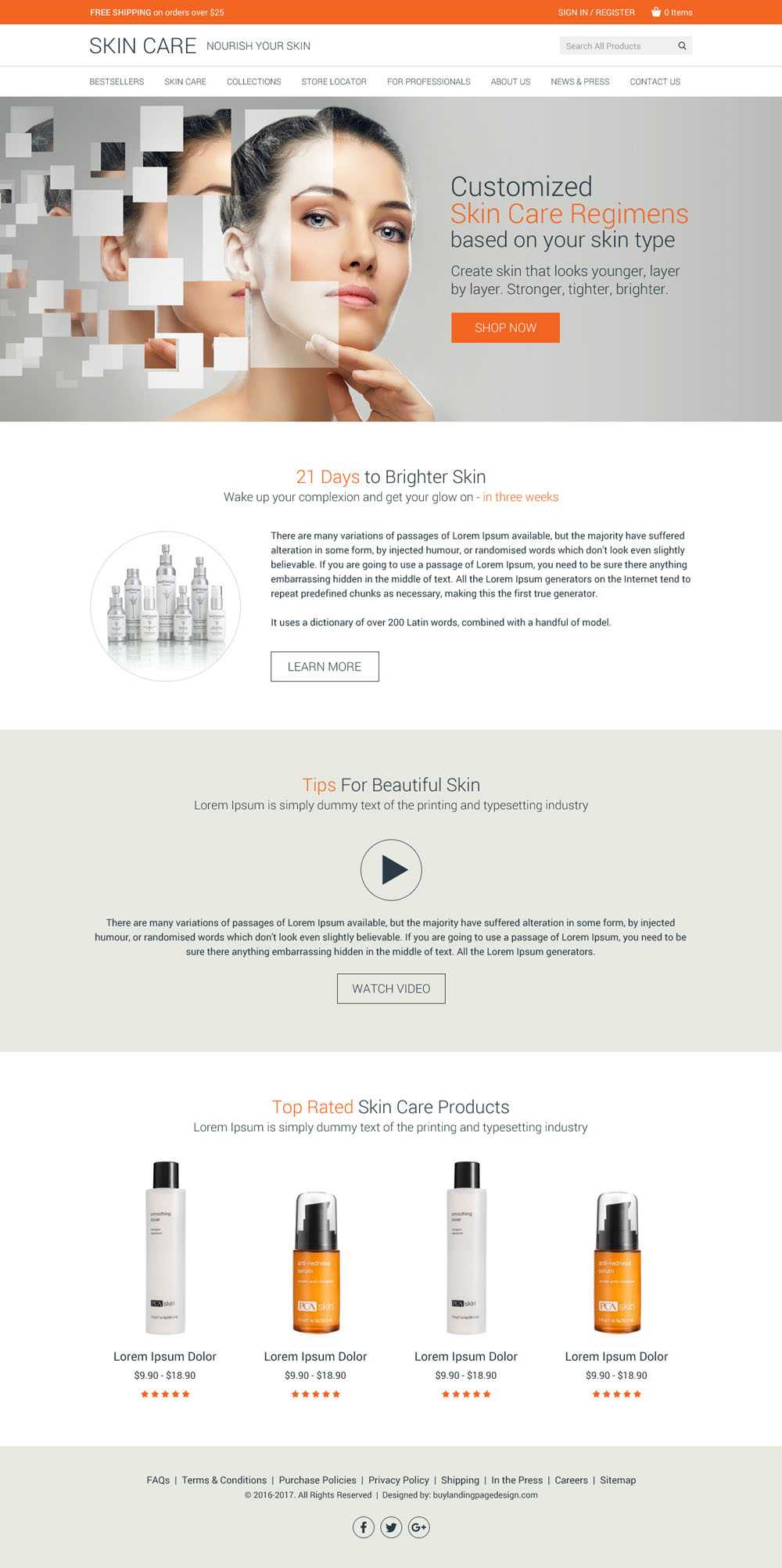 Skin Care Website Design Added To Buylpdesign Buylandingpagedesign Com
