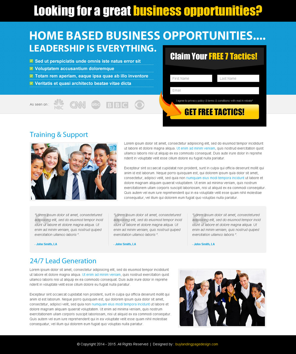 Home Decor Home Based Business: Business Opportunity Landing Page Design On Affordable Price