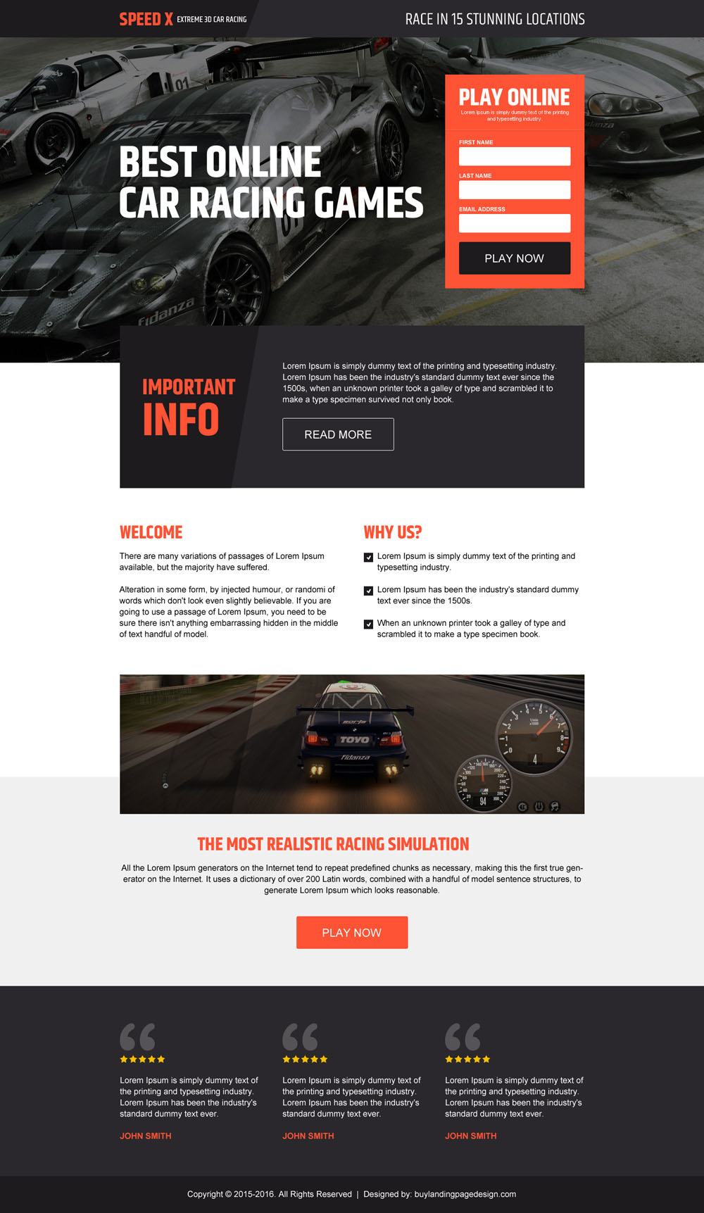 responsive games landing page design to promote your games