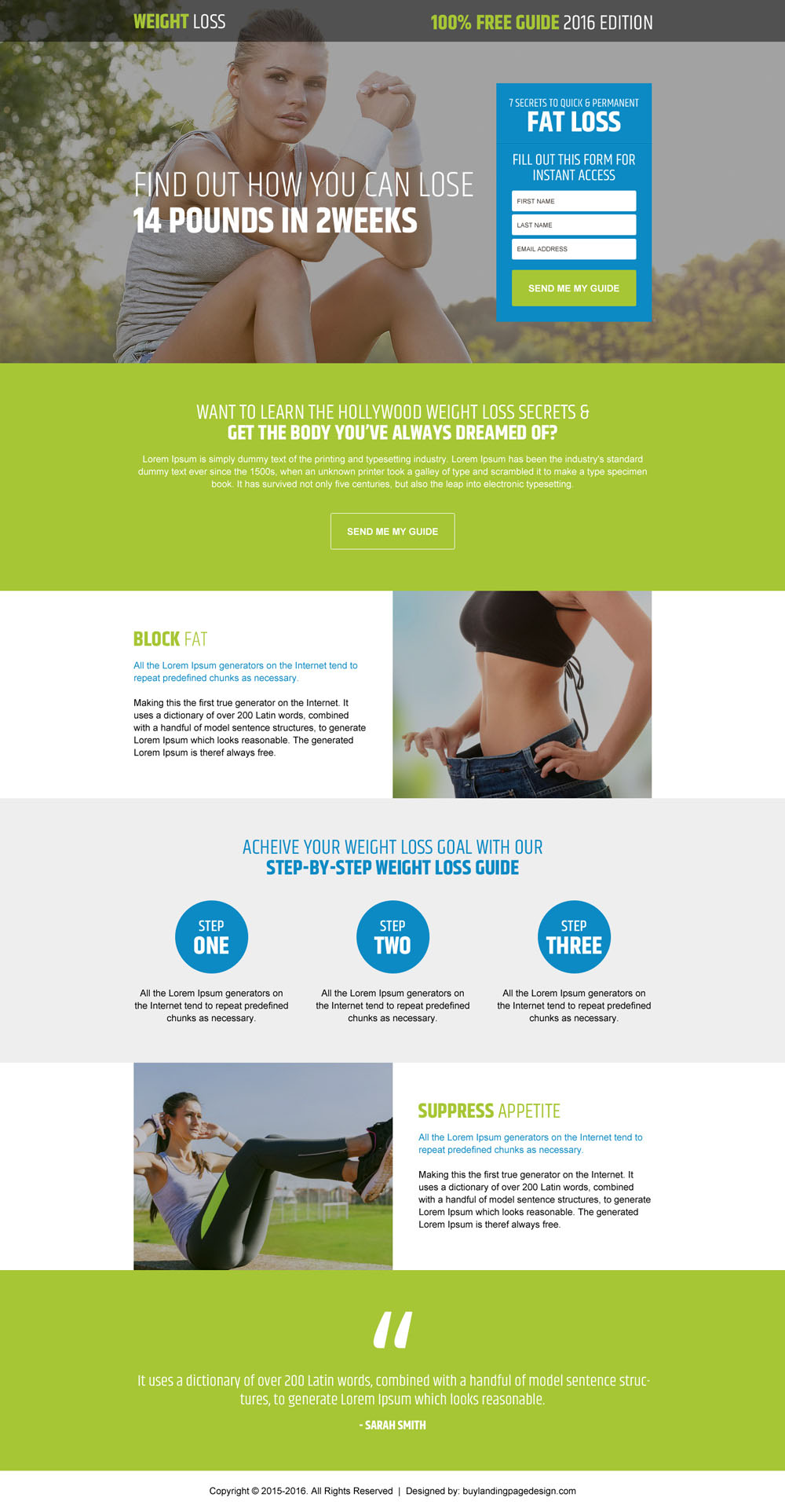 Weight Loss Product And Weight Loss Diet Landing Page Designs