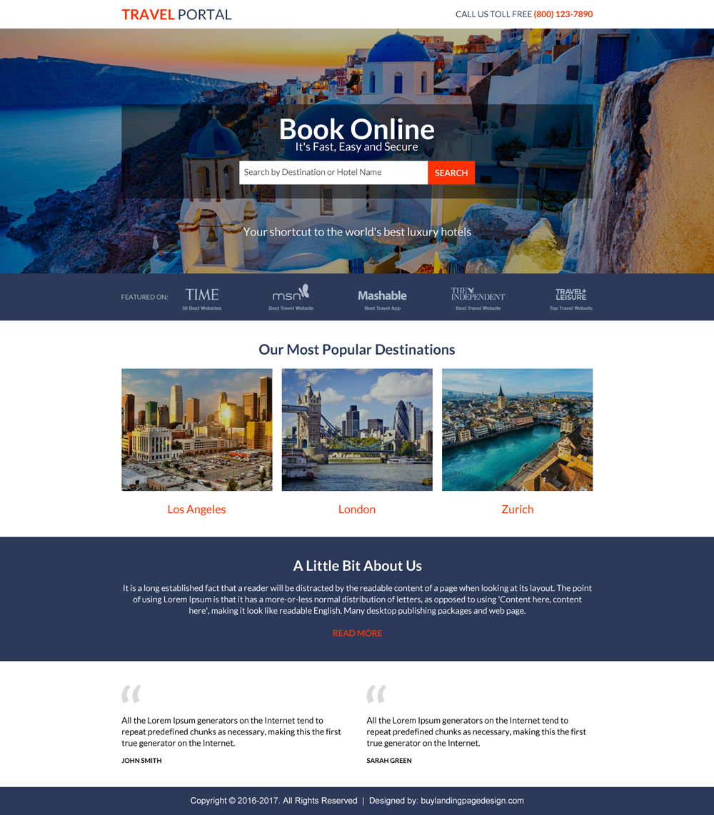 Best travel landing pages for online travel booking agency for Pages to buy online
