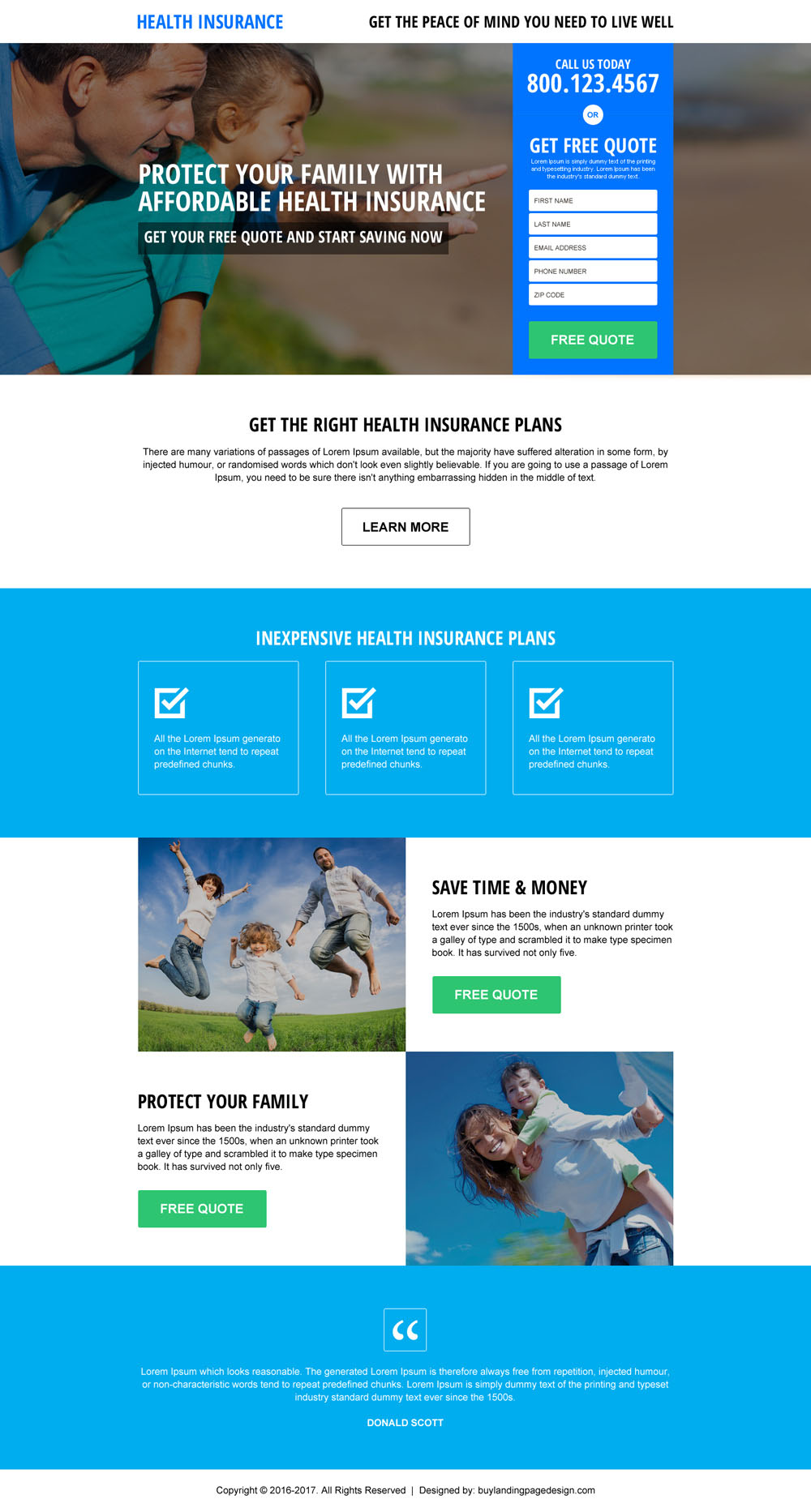 Top 10 Health And Medical Insurance Landing Pages