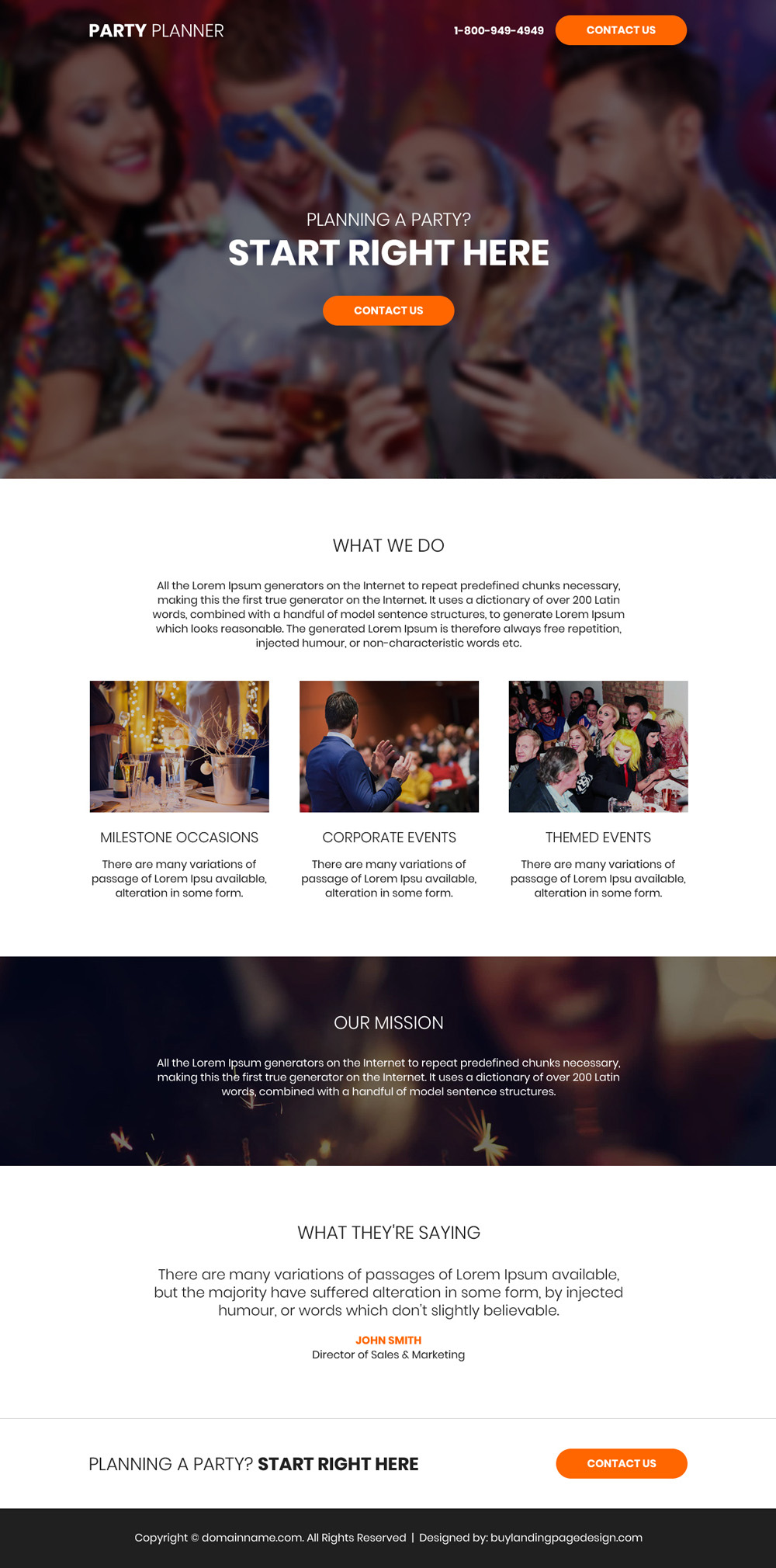 party planners lead generating landing page