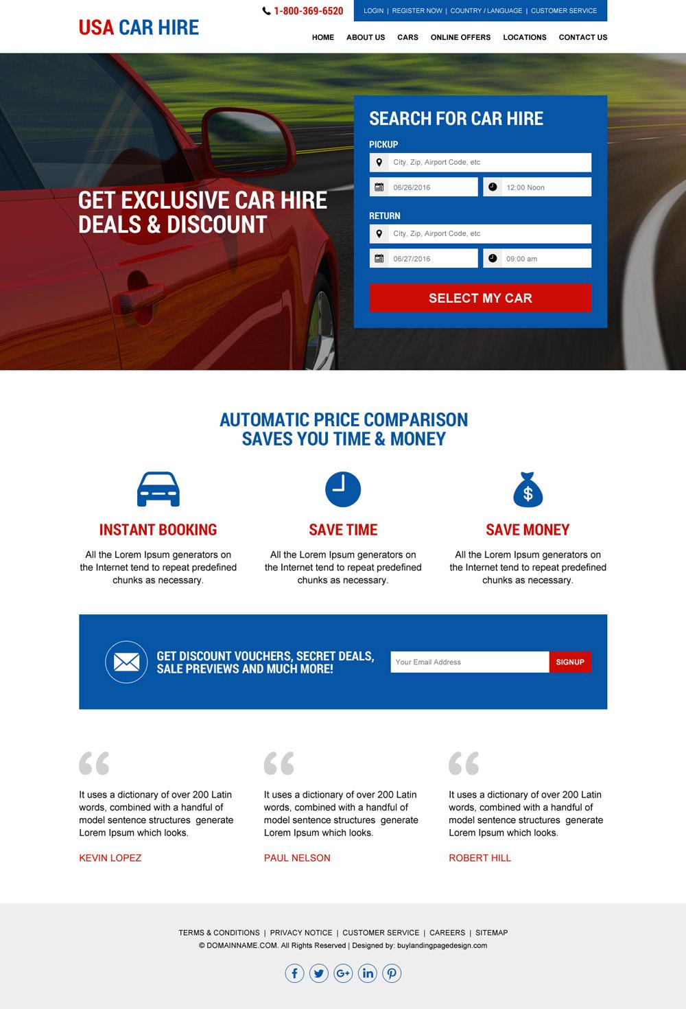Car Rental Usa >> Download Usa Car Hire Services Responsive Website Design
