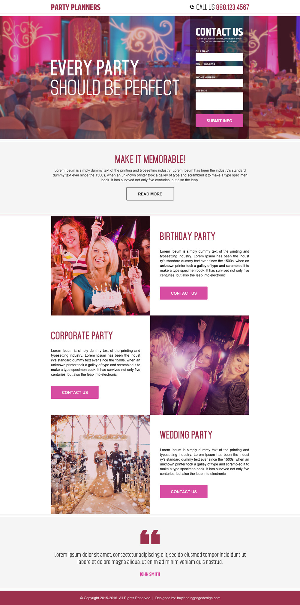 best party planners landing page
